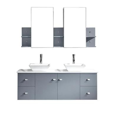 Clarissa 61 in. Double Vanity in Grey with Stone Vanity Top in Gray and Mirror Cabinets