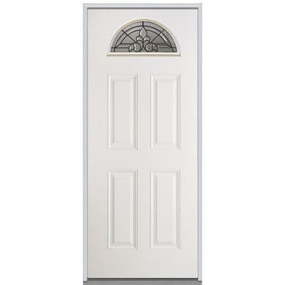36 in. x 80 in. Fontainebleau Decorative Glass Fan Lite 4 Panel Primed White Steel Replacement Prehung Front Door