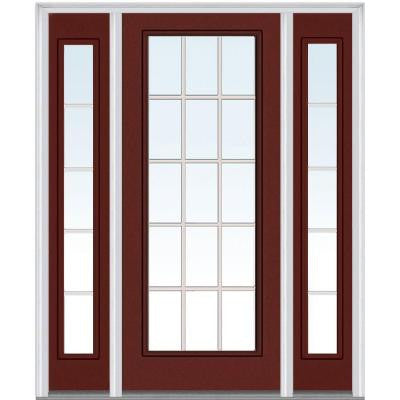 60 in. x 80 in. Classic Clear Glass GBG Full Lite Painted Majestic Steel Prehung Front Door with Sidelites