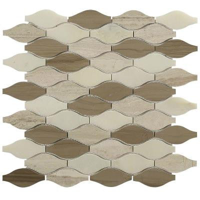 Micro Ivory Ash 12 in. x 12 in. x 8 mm Glass and Marble Mosaic Tile