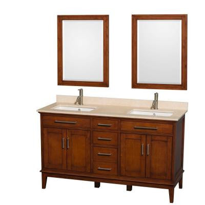 Hatton 60 in. Double Vanity in Light Chestnut with Marble Vanity Top in Ivory, Square Sink and 24 in. Mirror