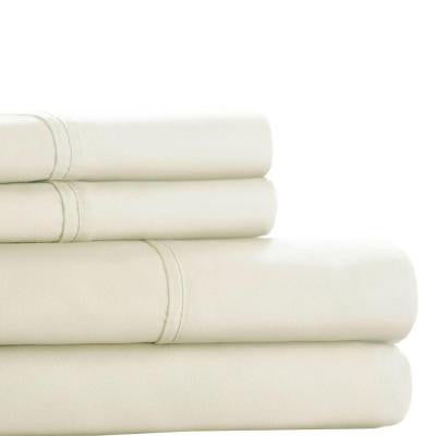 White 300 Count Egyptian Cotton Queen Sheet Set (4-Piece)