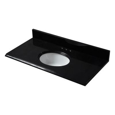 31 in. x 19 in. Granite Vanity Top in Black with White Bowl