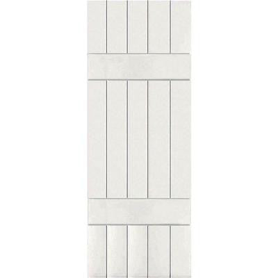 18 in. x 51 in. Exterior Real Wood Pine Board and Batten Shutters Pair White
