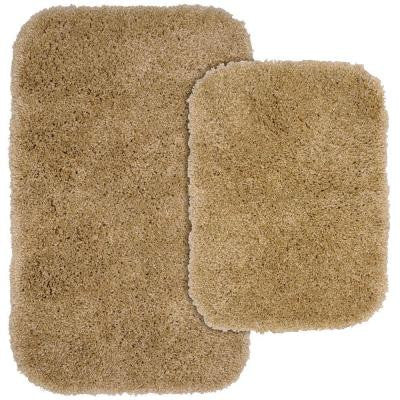 Serendipity Taupe 21 in. x 34 in. Washable Bathroom 2-Piece Rug Set