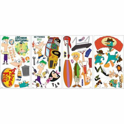 5 in. x 11.5 in. Phineas and Ferb Peel and Stick Wall Decals (37-Piece)