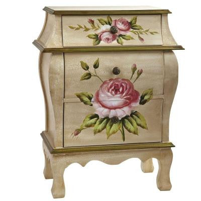 Antique Night Stand with Floral Art