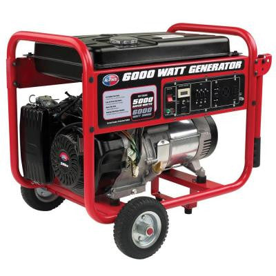 6,000-Watt Gasoline Powered Portable Generator with Mobility Cart