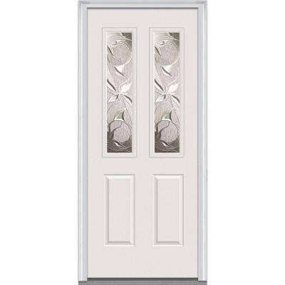 36 in. x 80 in. Lasting Impressions Decorative Glass 2 Lite 2-Panel Primed White Fiberglass Smooth Prehung Front Door
