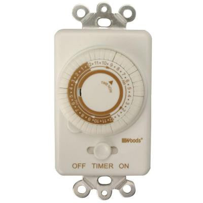 24-Hour In-Wall Mechanical Programmable Timer - White