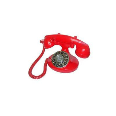Corded 1922 Alexis Replication Phone with Faux Rotary Dial - Red
