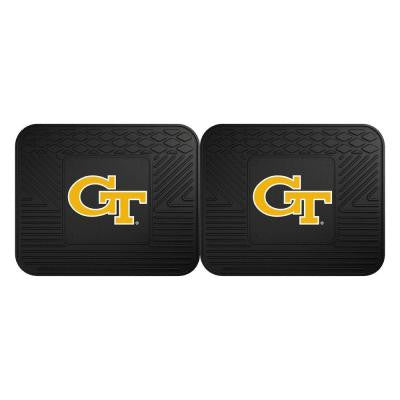 NCAA Georgia Tech Black Heavy Duty 2-Piece 14 in. x 17 in. Vinyl Utility Mat