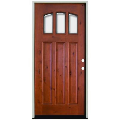 36 in. x 80 in. Craftsman 3 Lite Arch Stained Knotty Alder Wood Prehung Front Door