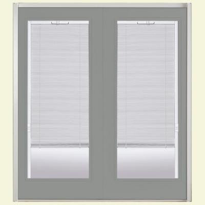 72 in. x 80 in. Silver Cloud Prehung Right-Hand Inswing Mini Blind Steel Patio Door with No Brickmold in Vinyl Frame
