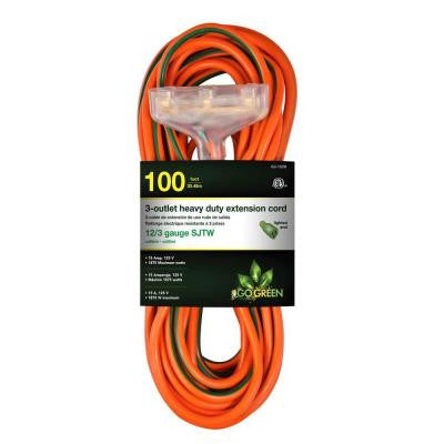 100 ft. 3-Outlet 12/3 Heavy Duty Extension Cord - Orange