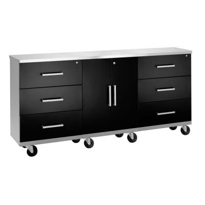Performance Series 33 in. H x 72 in. W x 18 in. D Mobile Work Station in Black (4-Piece)