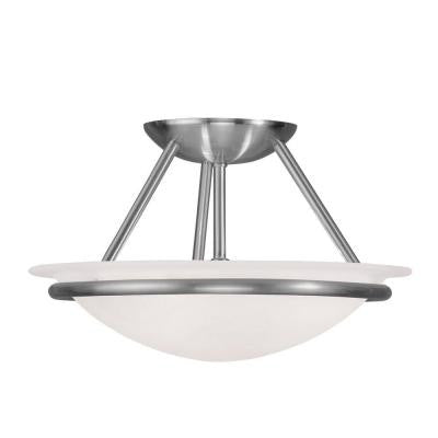 Providence 2-Light Brushed Nickel Incandescent Ceiling Semi-Flush Mount