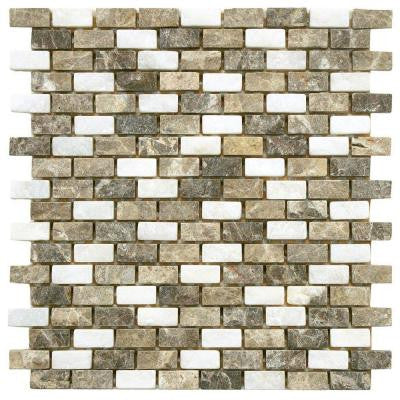 Griselda Subway Sand 11-1/2 in. x 11-1/2 in. x 9 mm Natural Stone Mosaic Wall Tile