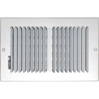 6 in. x 10 in. Ceiling/Sidewall Vent Register, White with 2-Way Deflection