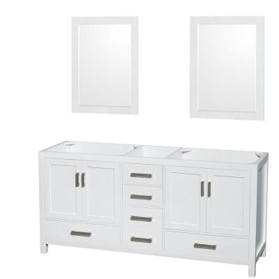 Sheffield 70 in. Double Vanity Cabinet with 24 in. Mirrors in White
