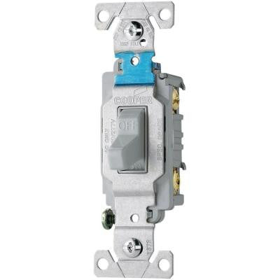 20 Amp 120/277-Volt Side Wire Compact Toggle Switch - Gray