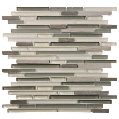 Tessera Mini Piano Plateau 11-3/4 in. x 11-3/4 in. x 6 mm Glass and Stone Mosaic Wall Tile