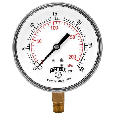 P9S 90 Series 3.5 in. Black Steel Case Pressure Gauge with 1/4 in. NPT Bottom Connect and Range of 0-30 psi/kPa