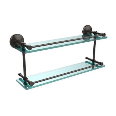 Monte Carlo 22 in. W Double Glass Shelf with Gallery Rail in Oil Rubbed Bronze