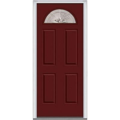 32 in. x 80 in. Heirloom Master Decorative Glass 1/4 Lite Painted Fiberglass Smooth Prehung Front Door
