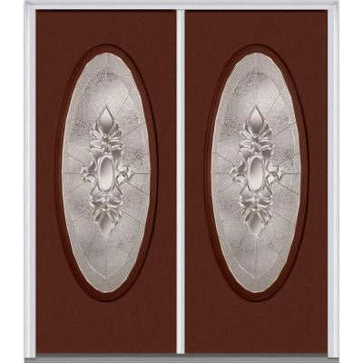 64 in. x 80 in. Heirloom Master Decorative Glass Full Oval Lite Painted Fiberglass Smooth Double Prehung Front Door