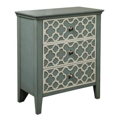 3-Drawer Dresser with White Trellis Design in Light Green