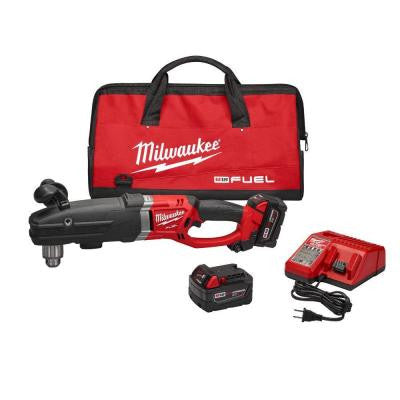 M18 FUEL 18-Volt Lithium-Ion Super Hawg 1/2 in. Right Angle Drill Kit