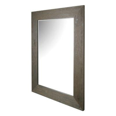 46 in. H x 34 in. W Grey Hand Stained Wood Beveled Mirror