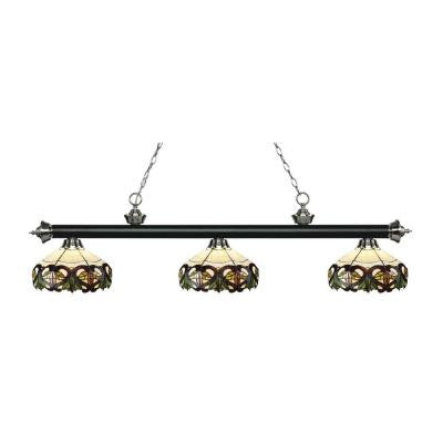 Leland 3-Light Matte Black and Brushed Nickel Island Light with Tiffany Glass Shades