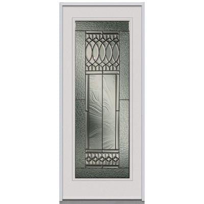 34 in. x 80 in. Paris Decorative Glass Full Lite Primed White Steel Replacement Prehung Front Door