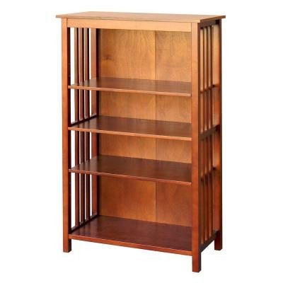Hollydale 50 in. 4-Shelf Bookcase in Chestnut