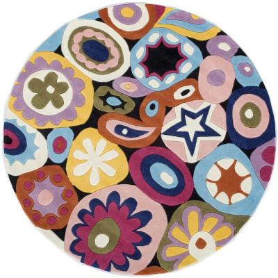 Young Buck Collection Multi 5 ft. x 5 ft. Round Area Rug
