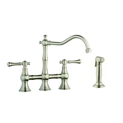 12 in. 2-Handle High-Arc Side Sprayer Bridge Kitchen Faucet in Infinity Brushed Nickel