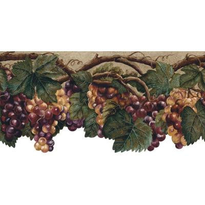 10.37 in. x 15 ft. Purple Die Cut Fruit Border