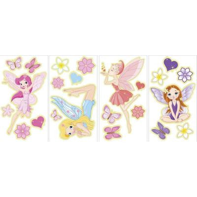 17.25 in. x 9.75 in. 23-Piece Fairies Glow in the Dark Wall Decal