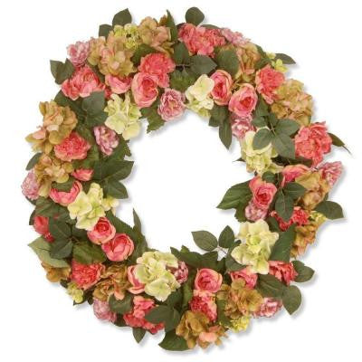 30 in. Garden Accents Mixed Flower Wreath