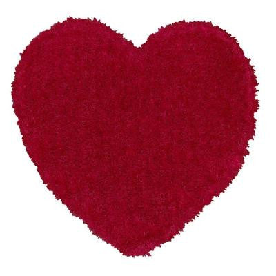 Senses Shag Shapes Pink Heart 4 ft. x 4 ft. Indoor Area Rug