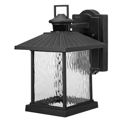 Lumsden Black LED Outdoor Motion Sensor Wall Mount Lantern