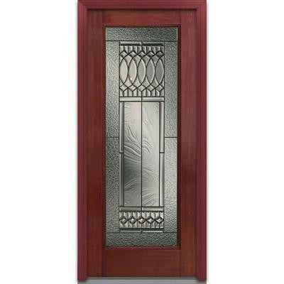 32 in. x 80 in. Paris Decorative Glass Full Lite Finished Mahogany Fiberglass Prehung Front Door