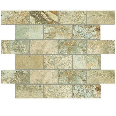 Folkstone Sandy Beach 12 in. x 12 in. x 8 mm Porcelain Brick-Joint Mosaic Tile
