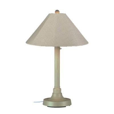 San Juan 34 in. Outdoor Bisque Table Lamp with Antique Beige Shade