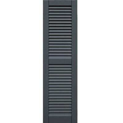 Wood Composite 15 in. x 54 in. Louvered Shutters Pair #663 Roycraft Pewter