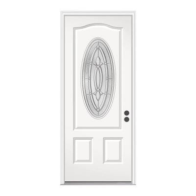 36 in. x 80 in. Blakely 3/4 Oval Lite Primed Premium Steel Prehung Front Door with Brickmould
