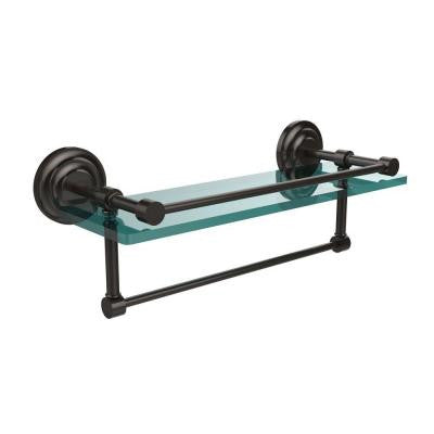 16 in. W x 16 in. L Gallery Glass Shelf with Towel Bar in Oil Rubbed Bronze