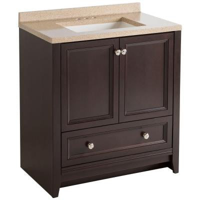 Delridge 30 in. W Modular Vanity in Chocolate with Solid Surface Vanity Top in Caramel